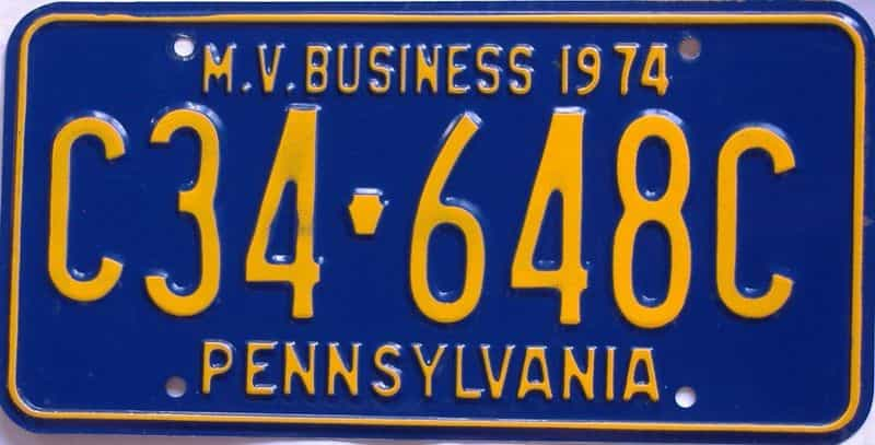 1974 Pennsylvania  (Non Passenger) license plate for sale