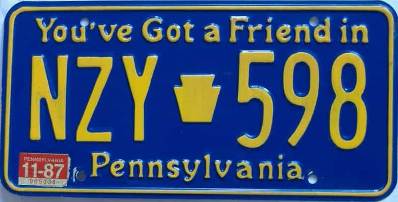 1987 Pennsylvania license plate for sale