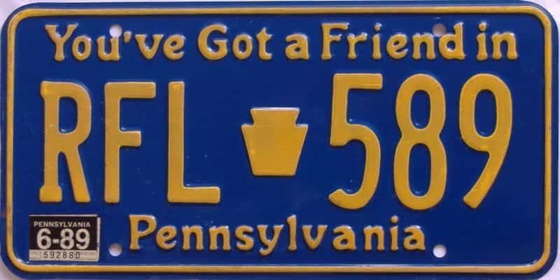 1989 Pennsylvania license plate for sale
