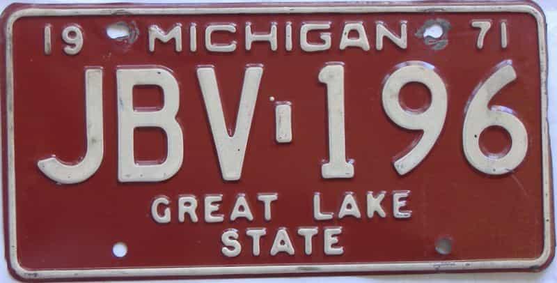 1971 Michigan (Single) license plate for sale