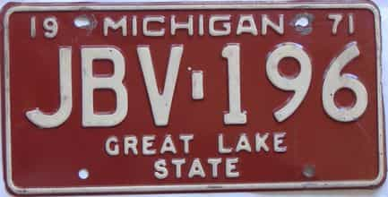 1971 Michigan (Single) license plate for sale