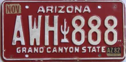 1982 Arizona (Single) license plate for sale