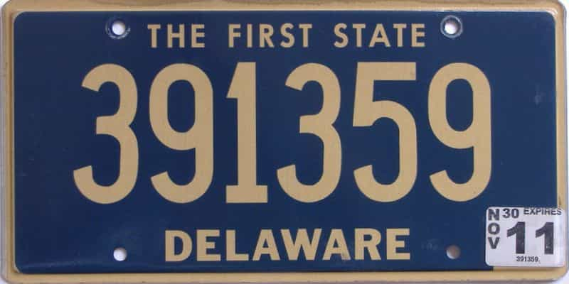 2011 Delaware license plate for sale