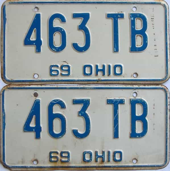 1969 OH (Pair) license plate for sale