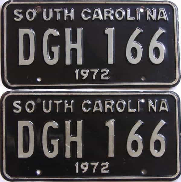 1972 SC (DMV NOT CLEAR) license plate for sale