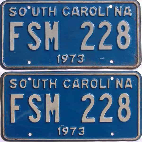 1973 SC (DMV NOT CLEAR) license plate for sale