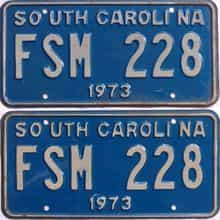 1973 South Carolina  (DMV NOT CLEAR) license plate for sale