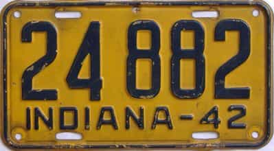 1942 Indiana license plate for sale