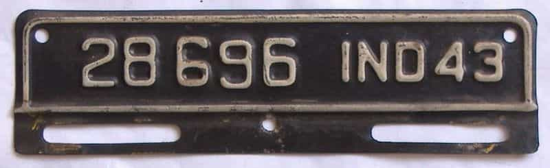 1943 Indiana license plate for sale
