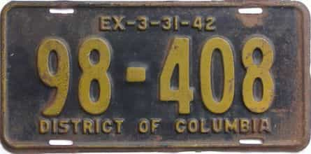 1942 District Of Columbia  (Single) license plate for sale