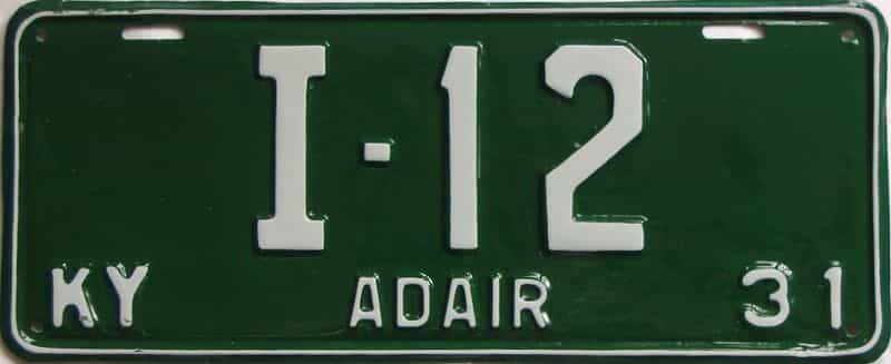 1931 Kentucky  (Older Restoration) license plate for sale