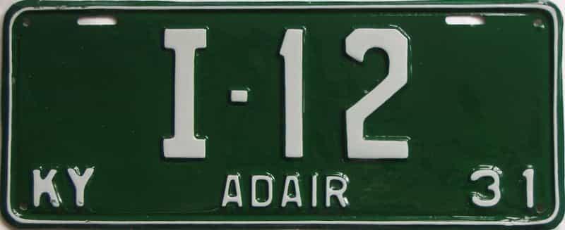 1931 Kentucky (Older Restoration) license plate for sale