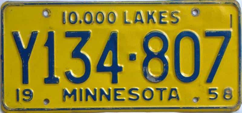 1958 MN (Truck) license plate for sale