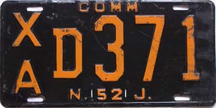 1952 New Jersey (Single) license plate for sale