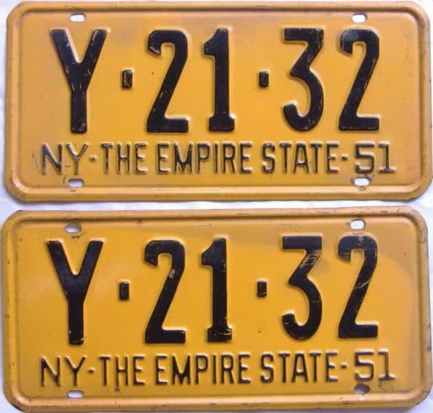 1951 New York  (Pair) license plate for sale