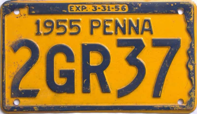 1955 Pennsylvania license plate for sale