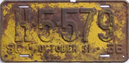 1936 South Carolina  (Truck) license plate for sale