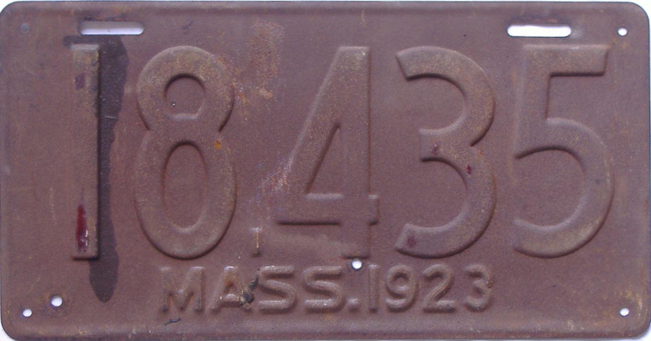 1923 Massachusetts (Single) license plate for sale