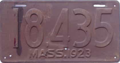 1923 Massachusetts (Single) license plate for sale