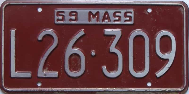 1959 MA (Single) license plate for sale