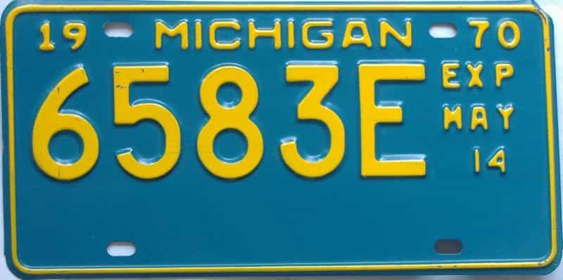 1970 MI (Non Passenger) license plate for sale