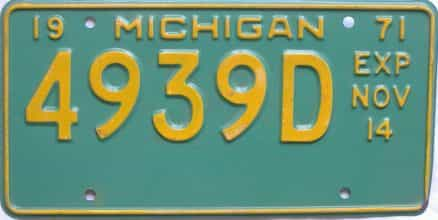 1971 Michigan (Non Passenger) license plate for sale