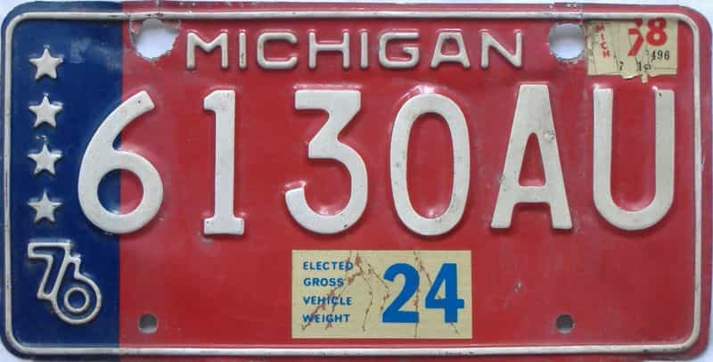 1978 MI (Non Passenger) license plate for sale