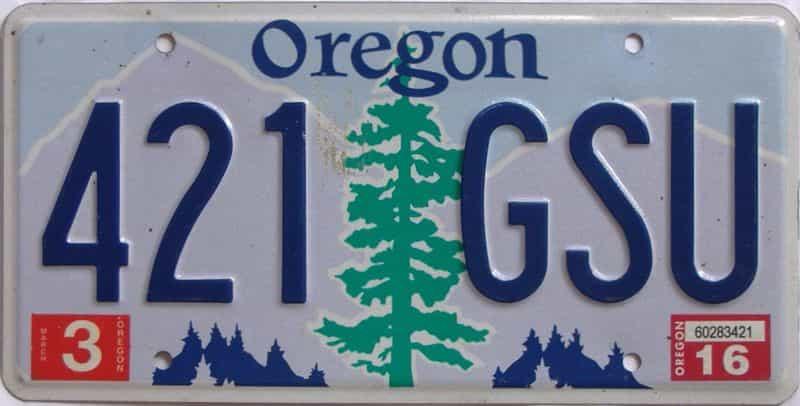 2016 Oregon (Natural Single) license plate for sale