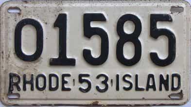 1953 Rhode Island (Single) license plate for sale