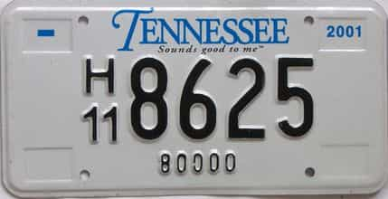 2001 Tennessee  (Non Passenger) license plate for sale