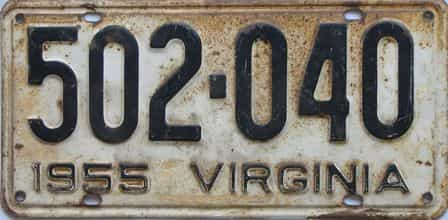 1955 Virginia (Single) license plate for sale
