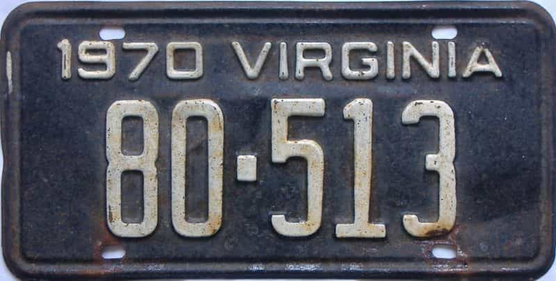 1970 Virginia  (Single) license plate for sale