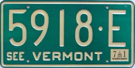 1971 Vermont (Natural Single) license plate for sale