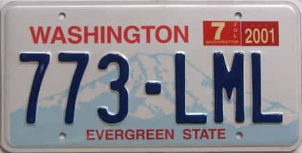 2001 Washington (Natural Single) license plate for sale
