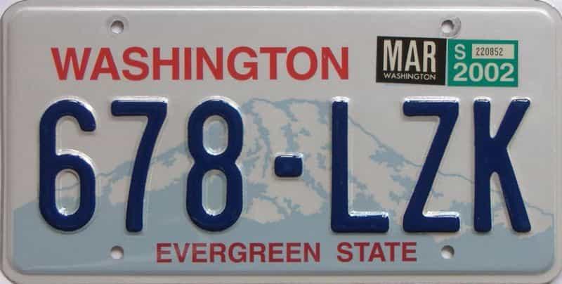 2002 Washington (Natural Single) license plate for sale