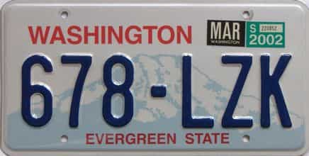 2002 Washington (Natural Single) license plate for sale