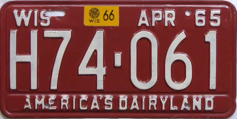 1966 WI (Single) license plate for sale