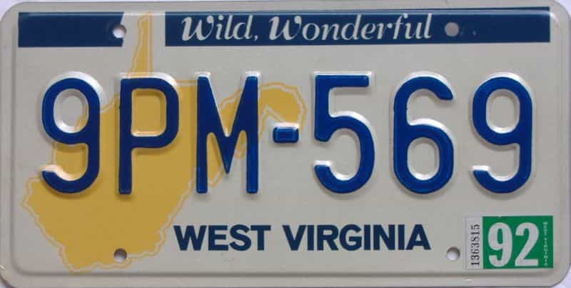 1992 WV (Natural) license plate for sale