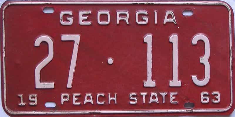 YOM 1963 Georgia license plate for sale