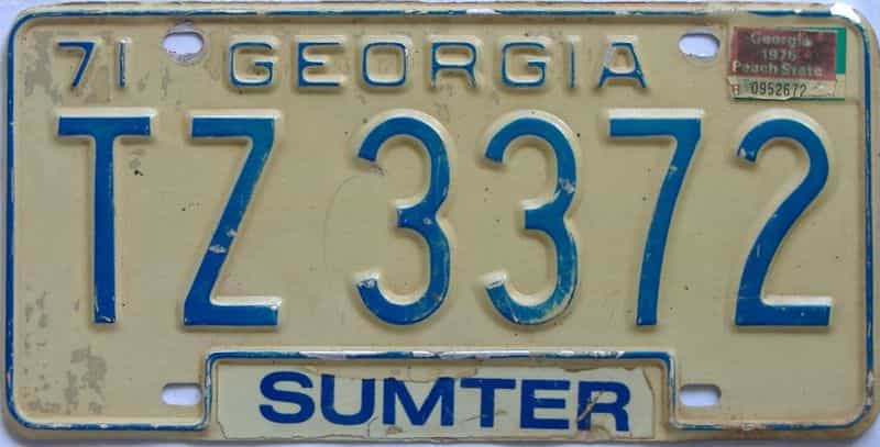 YOM 1975 Georgia  (Truck) license plate for sale