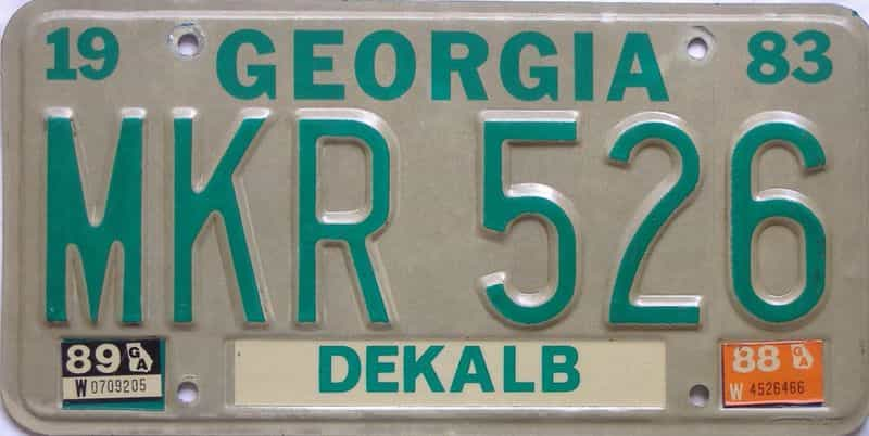 YOM 1989 Georgia license plate for sale