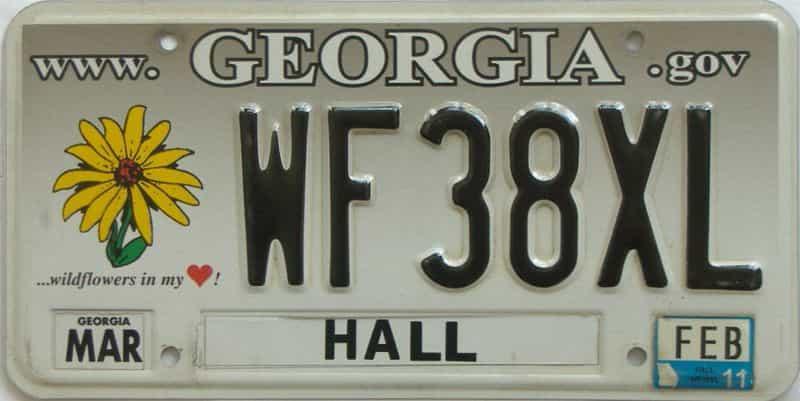 2011 Georgia license plate for sale