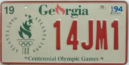 1994 Georgia license plate for sale
