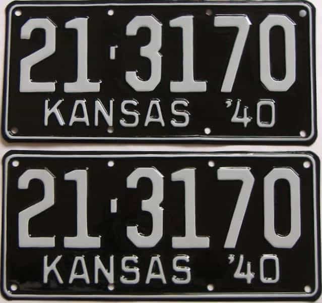 RESTORED 1940 Kansas  (Pair) license plate for sale