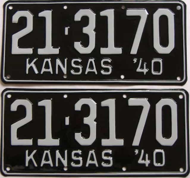 RESTORED 1940 Kansas (Pair) license plate for sale