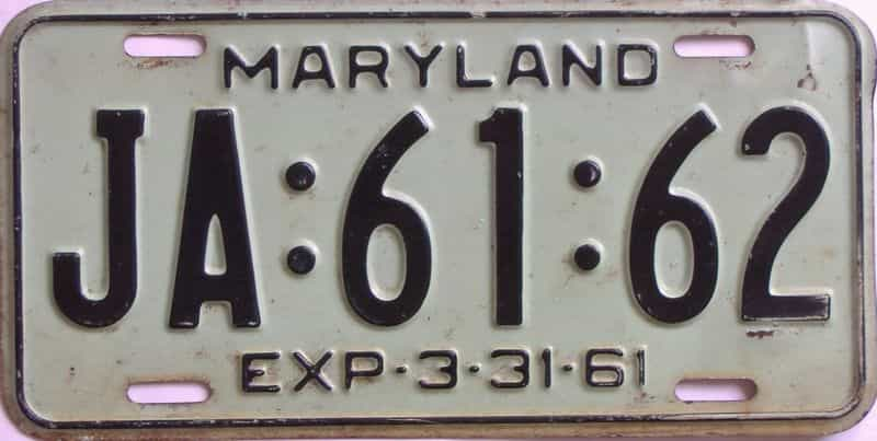 1961 Maryland (Single) license plate for sale