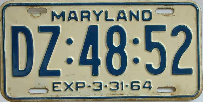 1964 Maryland (Single) license plate for sale