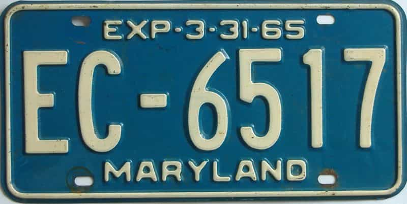 1965 Maryland (Single) license plate for sale