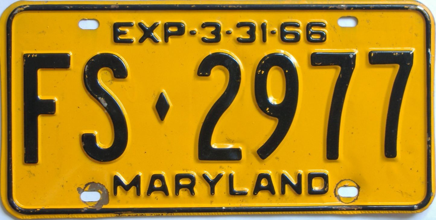 1966 Maryland (Single) license plate for sale