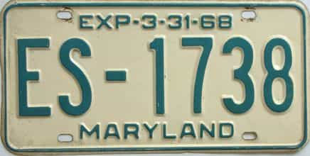1968 Maryland (Single) license plate for sale